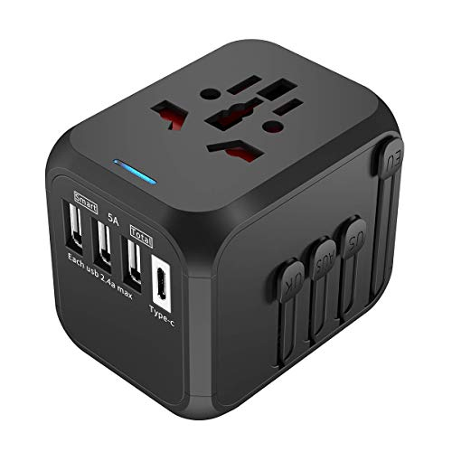 Universal Travel Adapter, Travel Power Adapter, All in One Travel Adapter with 2019 Upgraded Auto Resetting Fuse 5A 3 USB and 1 Type-C Port, Fast Wall Charging for UK, EU, US, and More 170 Countries