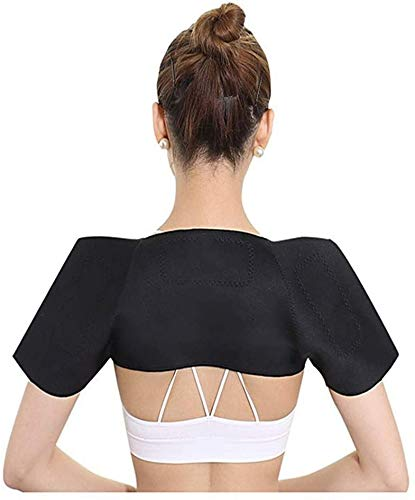 Double Shoulder Brace Thermal Self-Heating Shoulder Support Pain Relief Compression Sleeve Wrap Breathable Neoprene Shoulder Pad Protector Rotator Cuff Brace for Tendonitis Chronic Inflammation