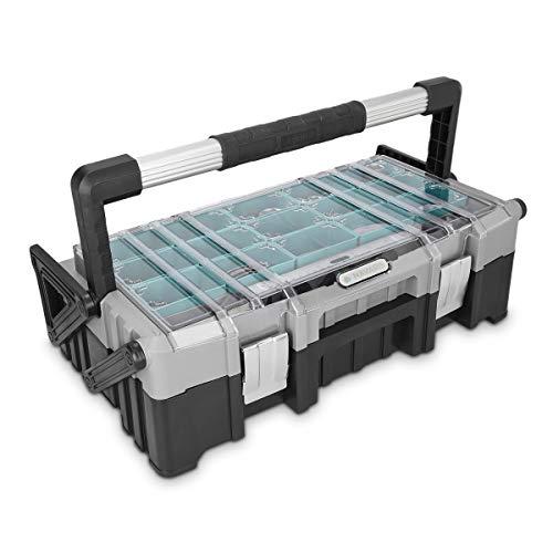 """Navaris Cantilever Profi Werkzeugkoffer 22\"""" leer - 56x30,5x16,5cm - mit aufklappbarem Schubfach mit 15 entnehmbaren Fächern - Koffer ohne Werkzeug"""