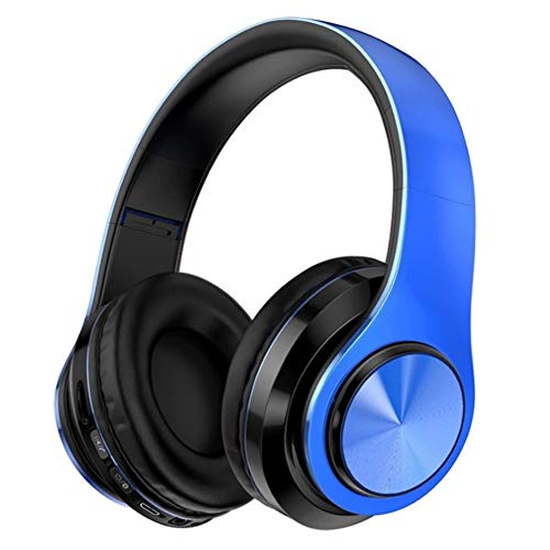 Wsaman Wireless Over Ear Bluetooth Headphones, Bluetooth Headsets Wireless Stereo Earphones with Mic and Volume Control Noise Cancellation for Airpods/Android/Gaming/PC Earbuds,Blue Black
