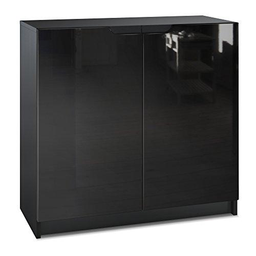 Vladon Kommode Büroschrank Aktenschrank Büromöbel Logan, Korpus in Schwarz matt/Fronten in Schwarz Hochglanz