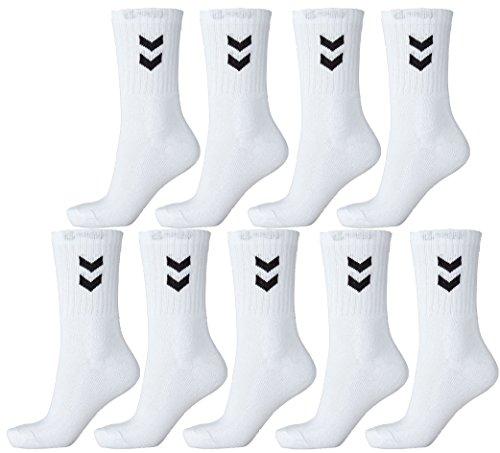 Hummel9paia di calzini sportivi unisex, bianco, 41 - 45 (Size 12)