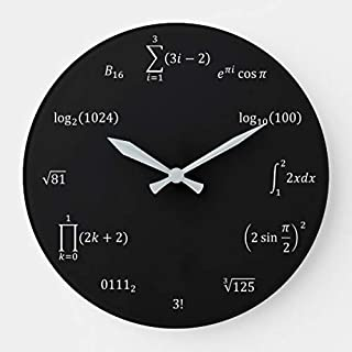 OSWALDO Math Equations and Notations Decorative Round Wooden Wall Clock - 12 inch