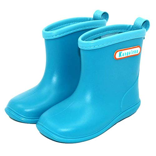 HAILI Soft Durable PVC Toddle Rain Boot Waterproof Non-Slip Wellies for Little Kids, Boys & Girls (6 UK, Sky Blue)