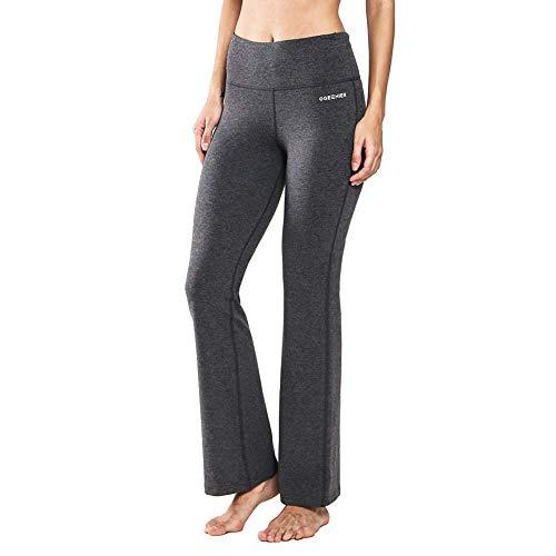 Ogeenier Damen Baumwolle Bootcut Yogahose Flare Nylon Jogginghose Lang Hose Sporthose mit Hoher Taille und Tasche für Yoga, Pilates, Fitness,Training