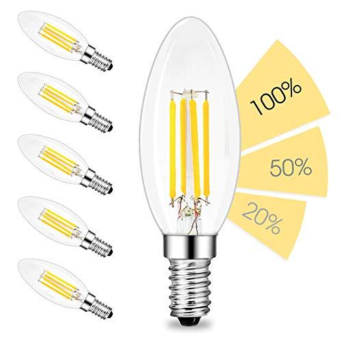 linovum fourSTEP Dim E14 LED 6er Pack Kerze Filament - 'Dimmbar ohne Dimmer' mit jedem Lichtschalter 4W 400lm 230V warmweiß