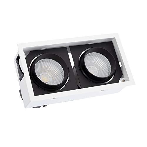 DK Multitec - Foco Empotrable Downlight COB Cuadrado 60Watt lifud driver Corte 220x110 mm iluminación techos (K3000)