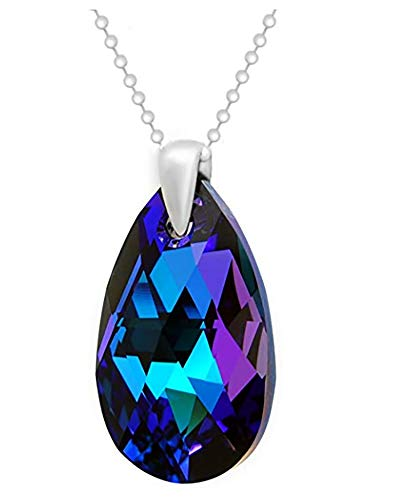 Purple Blue 925 Sterling Silver Made with Swarovski Elements Teardrop Pendant Necklace for Women on a chain,18'