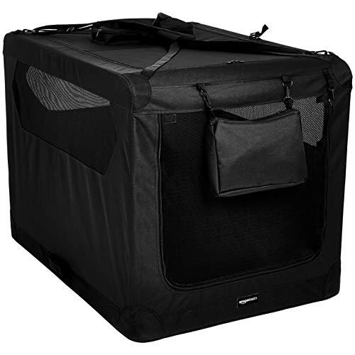 Amazon Basics - Hochwertige Haustier-Transportbox, faltbar, Schwarz , 106 cm