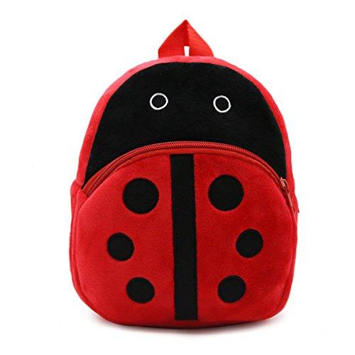 WSLCN Mini mochila infantil para guardería, mochila escolar, ajustable, cremallera, mochila de ocio, con múltiples bolsillos, de tela, multicolor, mariquita (Rojo) - BB0460-H