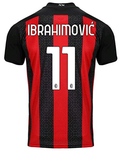 LISIMKEM 2020-2021 Kids/Youths Home Soccer Jersey/Short/Socks Colour Red/Black (AC Milan Ibrahimovic #11(11-13years/size28))