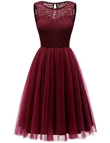 Bbonlinedress tüllrock faschingskostüme Damen tütü Cocktailkleid Tüll Kleid Brautjungfern Partykleid Abendkleid Burgundy L