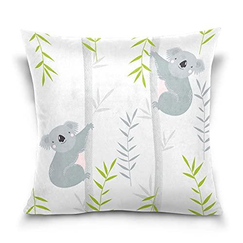 Cute Koala Bamboo Animal Pillow Covers 18 'x 18' Throw Pillow Cover Coussin Decorativa Housse de Coussin Suave para sofá Granja Sala de Estar Decoración del hogar Cama Sofá Dormitorio Coche