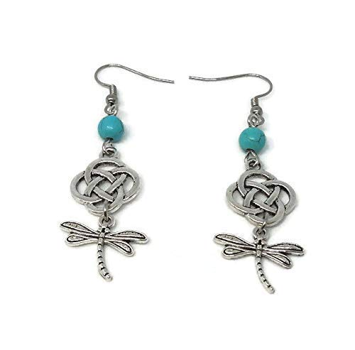 Outllander inspired, Drop Earrings with Celtic Knot, Dragonfly and Turquoise Beads - Scottish Jewelry