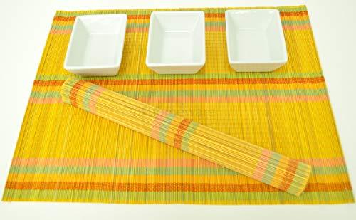 vnhomeware 6 Sets de Table, Sets de Table Fait Main en Bambou, Lot de 6, Yellow-Rainbow Motif, P045