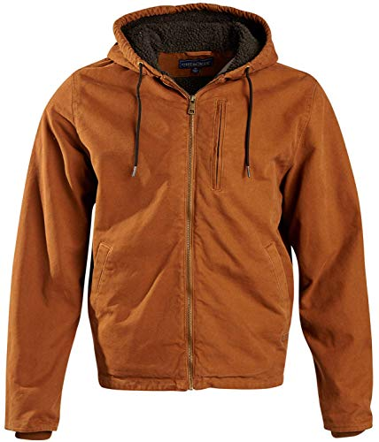 CHEROKEE Men's Workwear Outerwear – Duck Canvas Heavyweight Hooded Jacket, Size Medium, Wheat with Sherpa Lining'