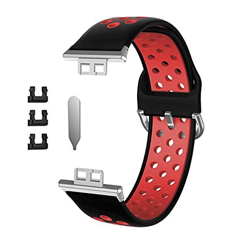 Correa deportiva de silicona transpirable con orificios para reloj Wei Fit Fitness Smart Watch Hombres Mujeres Reemplazo de la muñeca (Color de la correa: negro y rojo)