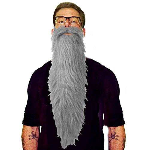 ZZ Top Style Lumberjack Hillbilly Long Costume Beard & Mustache Set (Grey)