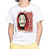 Camiseta Niño - Unisex, Series Televisión La Casa de Papel (Blanco, 3 años)