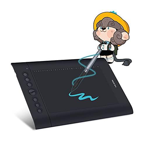 Huion H610 PRO V2 Tableta Gráfica, Chromebook y Android Compatibles, Función de Inclinación Lápiz de Lápiz sin Batería 8192 Presión de Pluma con 8 Llaves Expresas (Reacondicionado)