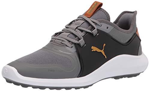 PUMA Men's Ignite Fasten8 Golf Shoe, Quiet Shade-Gold Black, 13
