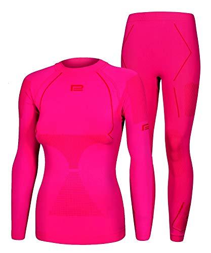 Seamless Funktionsunterwäsche Damen Thermo Extreme 2.0 Set Thermounterwäsche Skiunterwäsche Atmungsaktiv (rosa-rot, L/XL)