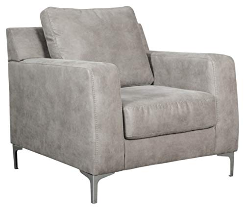 Signature Design by Ashley - Ryler Modern Faux Leather Accent Chair, Steel Gray