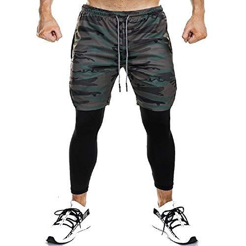 Ducomi Pantaloncino Uomo Fitness + Leggings Compressione Running 2 in 1 - Pantaloni Lunghi e Pantaloncini Palestra - Tight Sportivo Leggero per Corsa, Sport, Palestra e Basket (Camo, EU S)