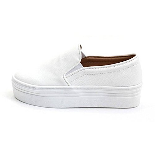 EpicStep Women's White Casual Simple Slip-On Mid Heels Thick Soles Platform Shoes Low Fashion Sneakers 8 M US