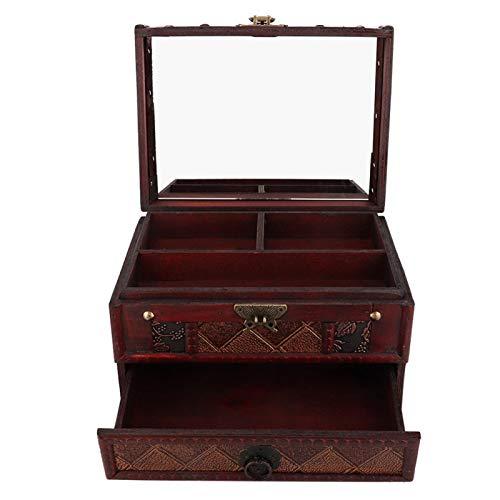 DAUERHAFT Caja de contenedor de joyería de Madera a Prueba de Polvo para almacenar Joyas con Espejo