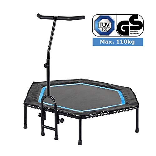 FA Sports Unisex – Erwachsene FlyJump Fit Indoor Fitness Trampolin, schwarz, blau, Ø 126 x 114 cm