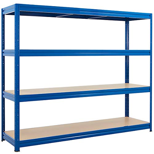 Robusto scaffale per carichi pesanti |blu| Capacità di carico fino a 500 kg per ripiano | 177 x 200 x 60 cm | Scaffalatura seminterrata Scaffalatura in acciaio