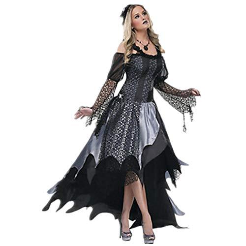 Yujeet Halloween Traje de Bruja Manga Larga Disfraz de Cosplay para Mujer Vestido de Carnaval (Negro, Asia L)