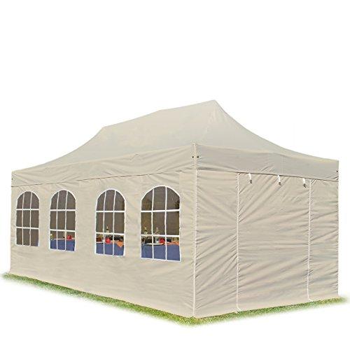 TOOLPORT Faltpavillon Faltzelt Premium 3x6m - mit Fenstern ALU Pavillon Partyzelt Dach 100% WASSERDICHT Creme