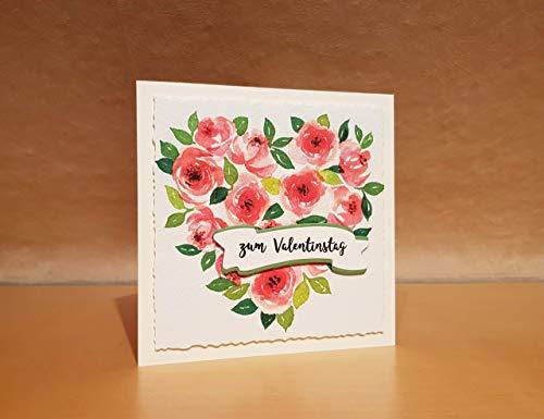 Hochzeitskarte, Glückwunschkarte zur Hochzeit, zum Hochzeitstag Valentinstag Muttertag Aquarell Rosenherz personalisiert Wunschtext eigener Text handgemacht Handarbeit