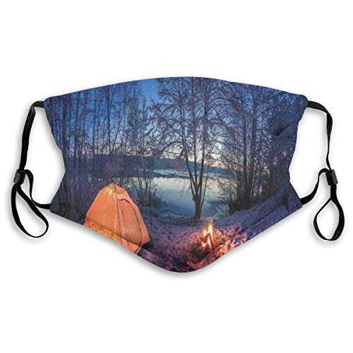 Dark Night Camping Tent Photo in Winter On Snow ed Lands by The Lake Fashionable Neck Scarf Face Mask-Dustproof, Windproof, Breathable, Fishing, Hiking, Cycling