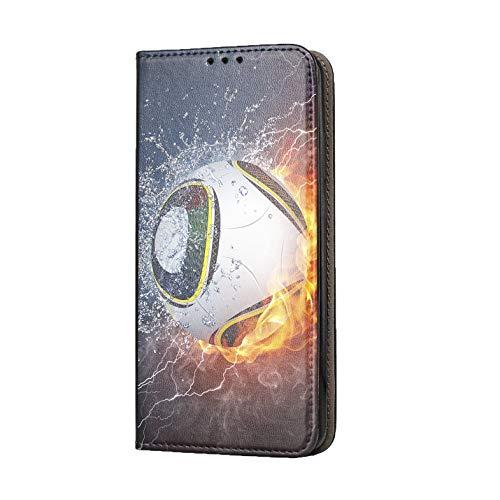 KX-Mobile Hülle für iPhone 7/8 / SE 2020 Handyhülle Motiv 1359 Fußball Fussball im Feuer Abstract Premium Smart aus Kunstleder einseitig Bedruckt HandyCover Handyhülle für iPhone 7/8 / SE 2020 Hülle