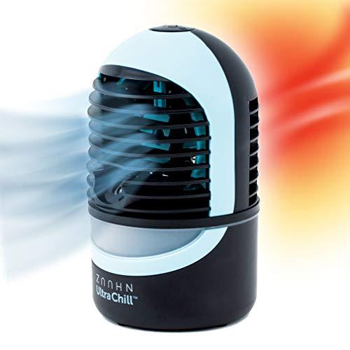 Zaahn Ultra Chill Deluxe, Cool Mist Aroma Diffuser USB-ventilator, mobiele, filterloze persoonlijke USB-ventilator & geurolie diffuser met sfeerverlichting & USB-aansluiting + plug-in leeslamp