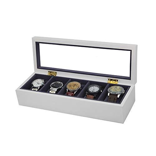 MxZas Caja de almacenamiento para 5 relojes, de madera, color blanco, duradero, para colección de joyas, color blanco, tamaño: una talla