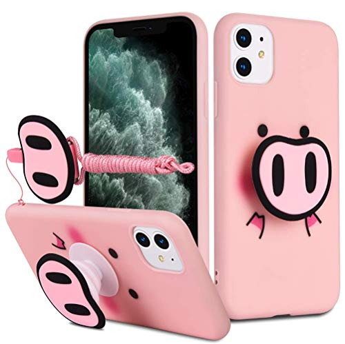 HikerClub iPhone 11 Pro Max Case Pink Pig Cute 3D Cartoon Case with Airbag Holder Stand and Lanyard Soft TPU Ultra Thin Slim Shockproof Protection Case (Pink Pig, iPhone 11 Pro Max)