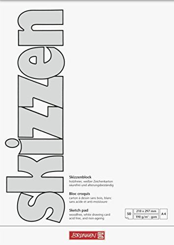 Brunnen 1047455 Zeichen-/Skizzenblock (A4, 190 g/m², 50 Blatt)