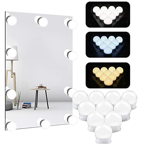 Luci di Specchio Vanità Luci da specchio Luci LED Stile Hollywood Dimmerabile Bianco Caldo/Bianco Naturale/Bianco Freddo 3000-6500K per Trucco Lampadine per toletta 3 colori 10 livelli di luminosità