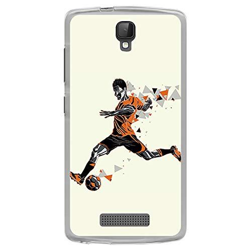 BJJ SHOP Transparent Hülle für [ ZTE Blade L5 L5 Plus ], Flexible Silikonhülle, Design: Fußballspieler, der dreieckigen Ball Tritt