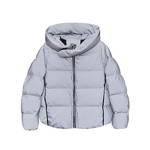 Winter capuchon donsjack, dames korte warme reflecterende jas, dikke capuchon jas-S