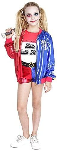 Costume da bambina Joker's Baby Harley Quinn pantaloncini, per Halloween, carnevale, feste per bambini (7-9 anni)