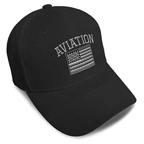 Speedy Pros Baseball Cap American Flag Army Aviation Embroidery Acrylic Dad Hats for Men & Women Strap Closure Black