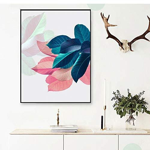 Handaxian Mural para Sala de Estar, Imagen de Hoja, Estilo nórdico, póster artístico de Flores, Pintura sobre Lienzo, Carteles e Impresiones de Plantas, 70x90cm sin Marco