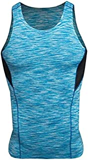 BEESCLOVER Compression Tights Gym Tank Top Quick Dry Sleeveless Sport Shirt Men Gym Clothing for Summer Cool Men's Running Vest Blue XXXL