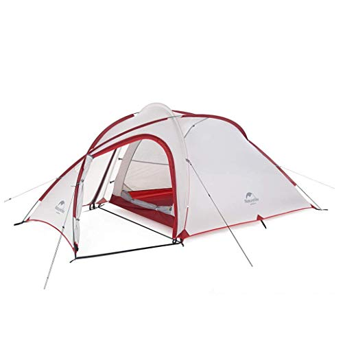 Naturehike Hiby 3 Person Backpacking Lightweight Waterproof Camping Tent with Footprint (20D Gray/Red)