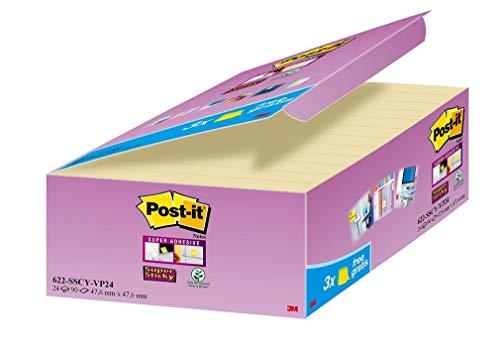 Post-it 622SY-24 Haftnotiz Super Sticky Notes Promotion, 48 x 48 mm, 24 Blöcke, 90 Blatt, gelb
